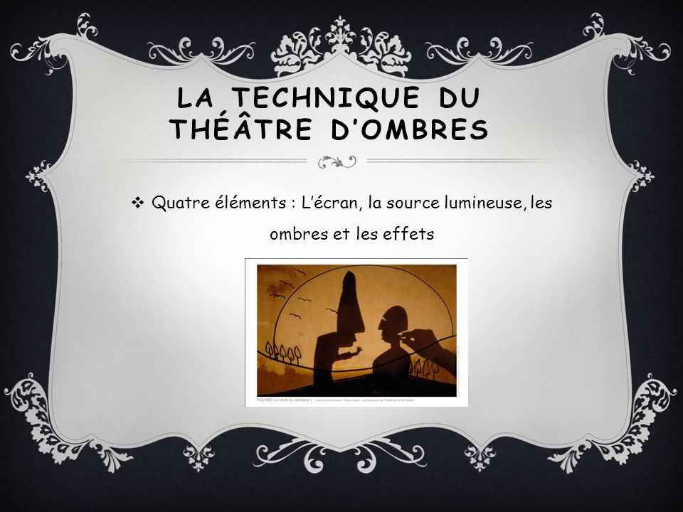 LA TECHNIQUE DU THÉÂTRE D'OMBRES