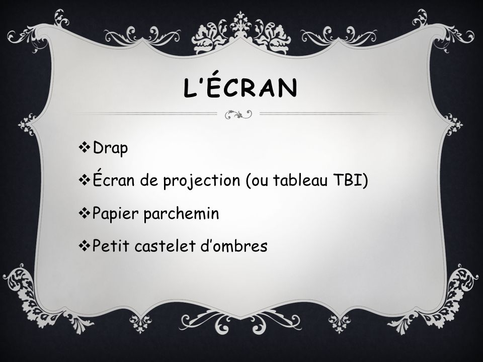 L'ÉCRAN Drap Écran de projection (ou tableau TBI) Papier parchemin