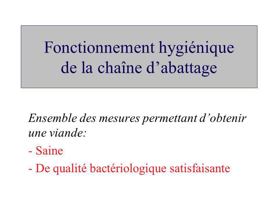 Fonctionnement hygiénique de la chaîne d'abattage