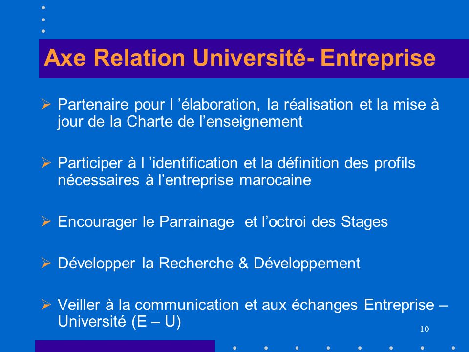 Axe Relation Université- Entreprise