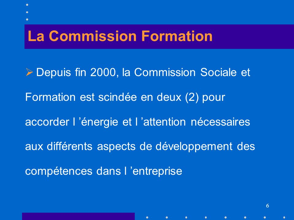 La Commission Formation