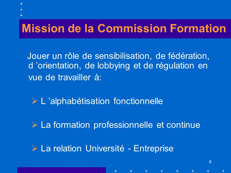 Mission de la Commission Formation