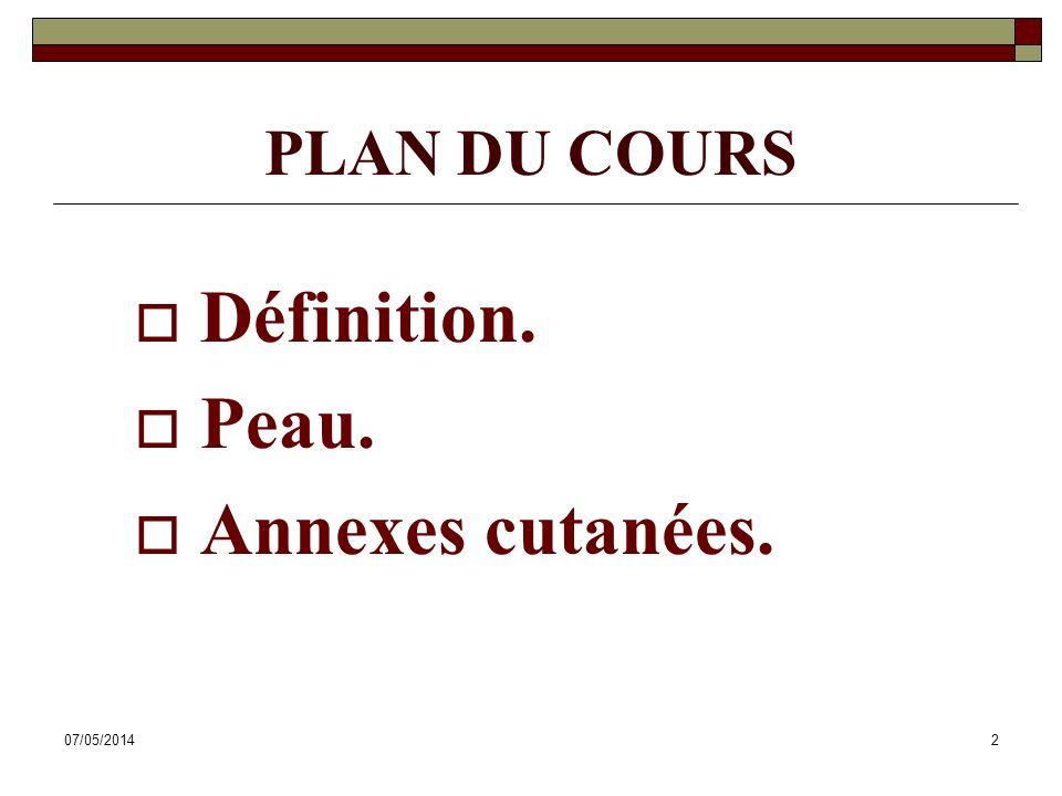 PLAN DU COURS Définition. Peau. Annexes cutanées. 30/03/2017