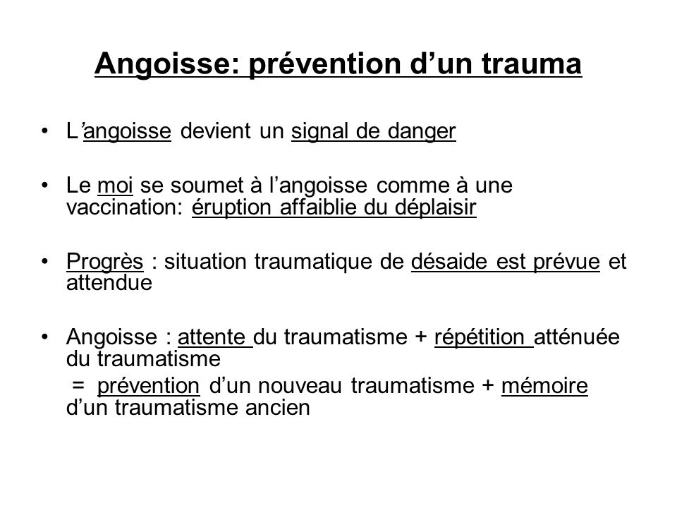 Angoisse: prévention d'un trauma