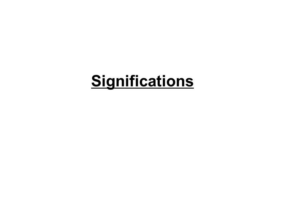 Significations