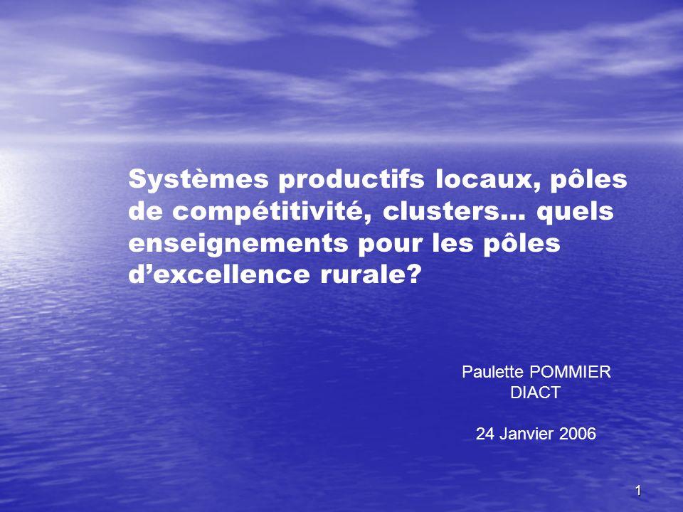 Systèmes productifs locaux, pôles de compétitivité, clusters… quels enseignements pour les pôles d'excellence rurale