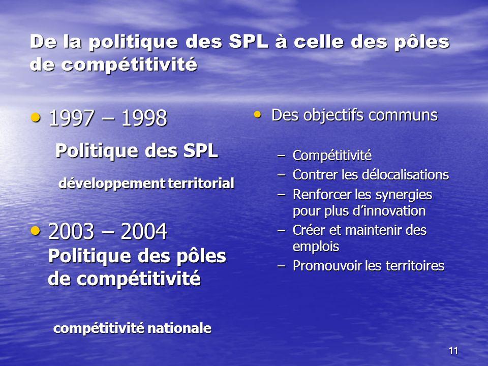 De la politique des SPL à celle des pôles de compétitivité