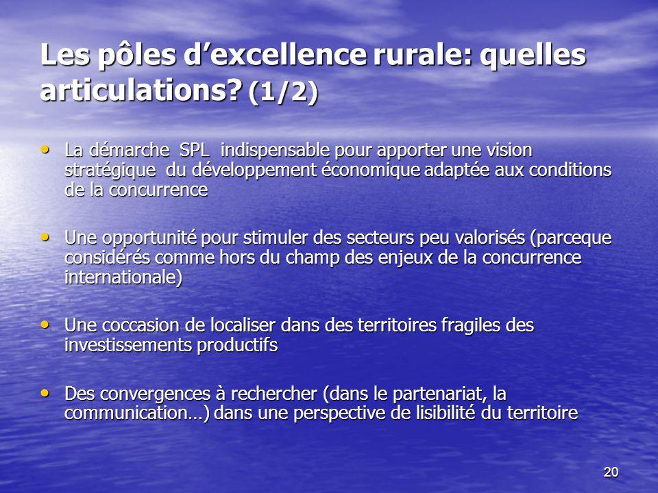 Les pôles d'excellence rurale: quelles articulations (1/2)