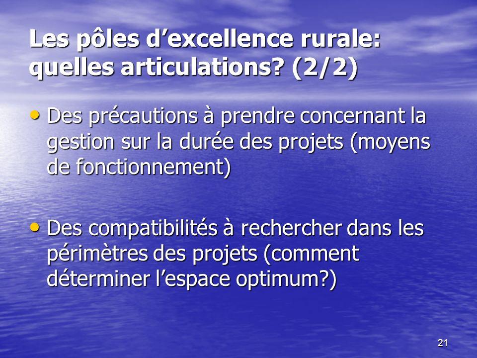 Les pôles d'excellence rurale: quelles articulations (2/2)