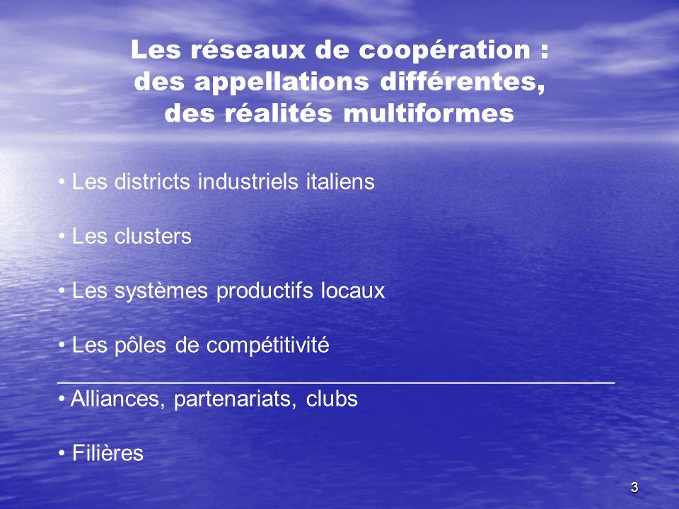 Les réseaux de coopération : des appellations différentes,