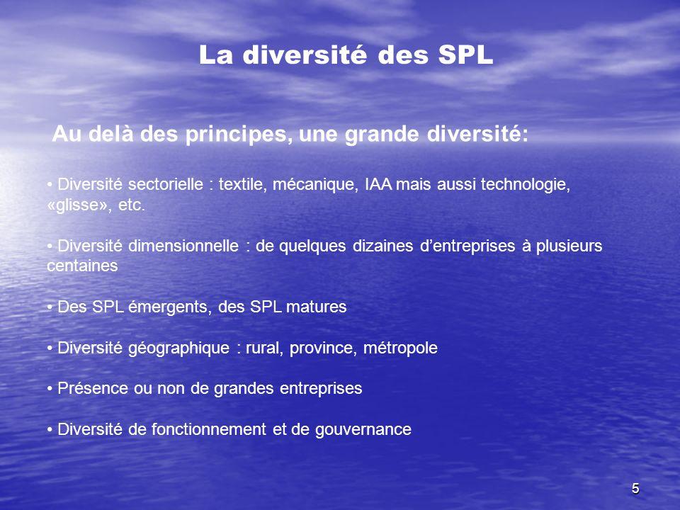 La diversité des SPL Au delà des principes, une grande diversité: