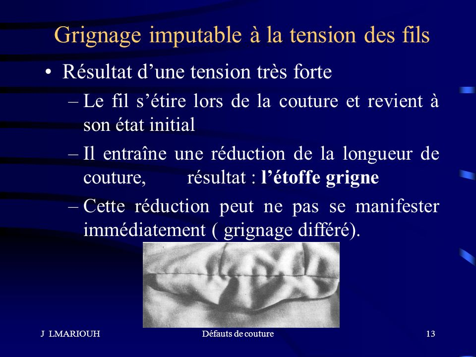 Grignage imputable à la tension des fils