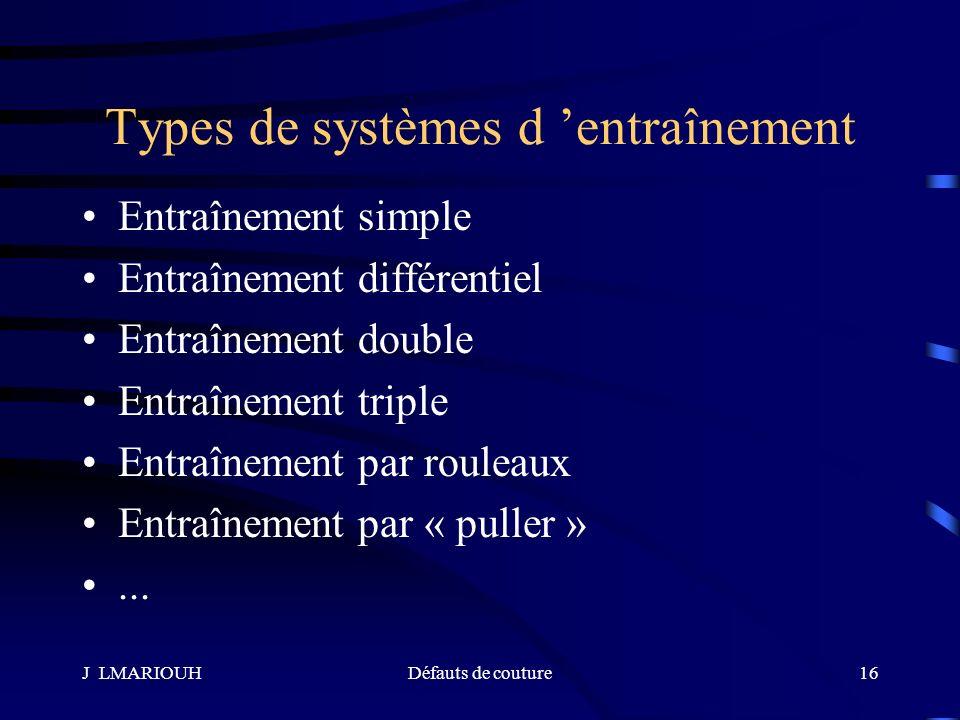 Types de systèmes d 'entraînement