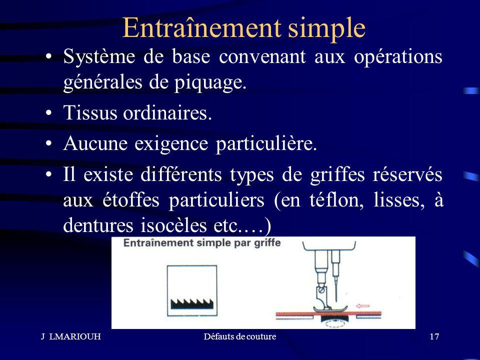 Entraînement simple Système de base convenant aux opérations générales de piquage. Tissus ordinaires.