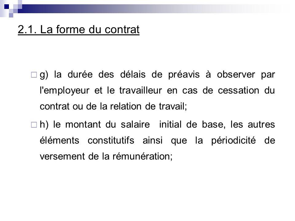2.1. La forme du contrat