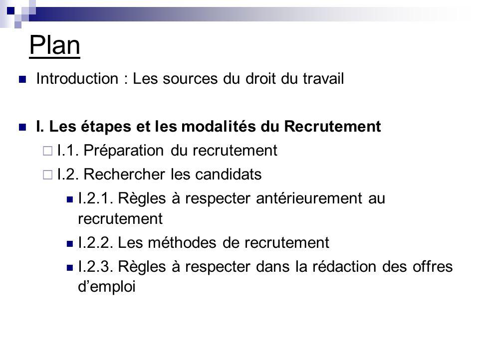 Plan Introduction : Les sources du droit du travail
