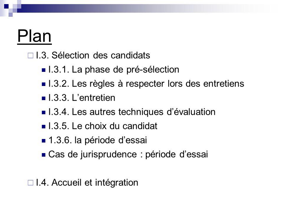 Plan I.3. Sélection des candidats I.3.1. La phase de pré-sélection