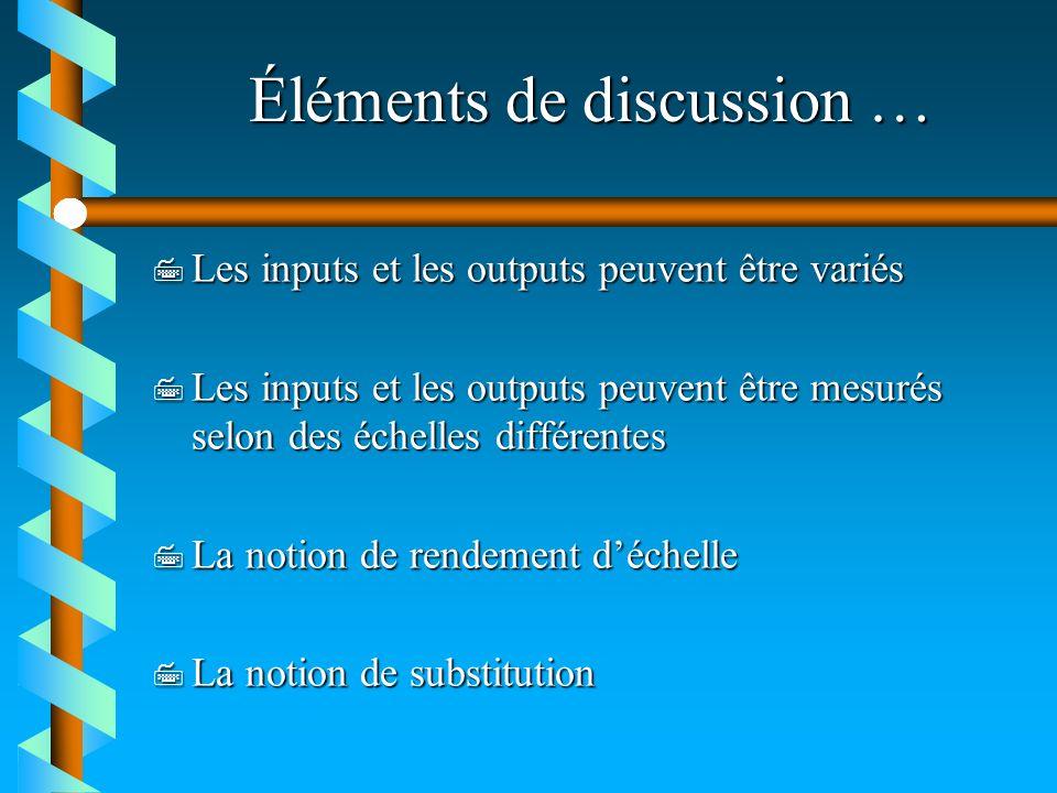 Éléments de discussion …