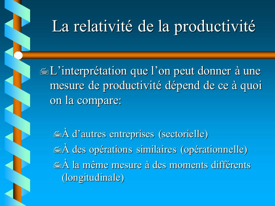 La relativité de la productivité