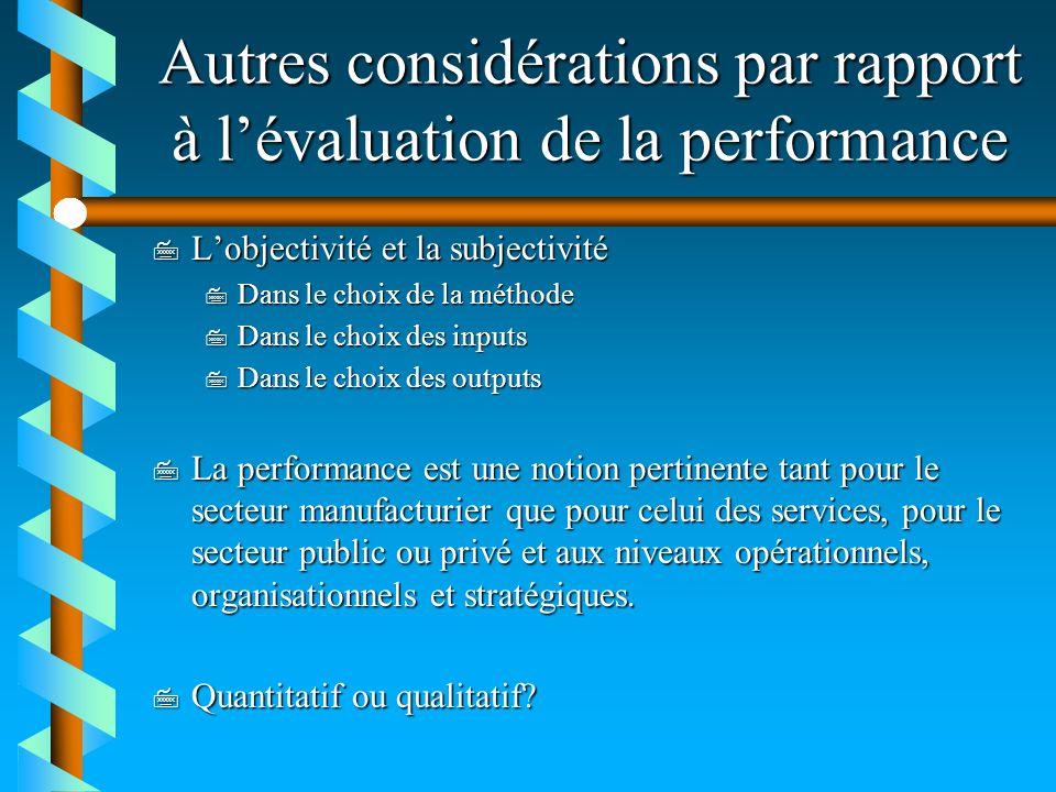 Autres considérations par rapport à l'évaluation de la performance