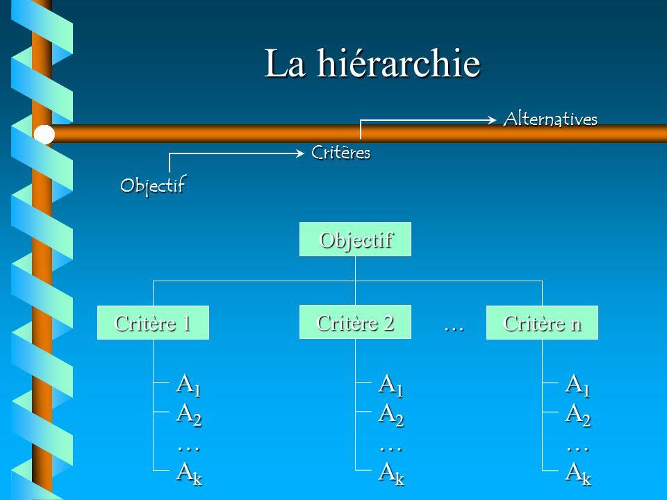 La hiérarchie A1 A2 Ak … A1 A2 Ak … A1 A2 Ak … Objectif Critère 1