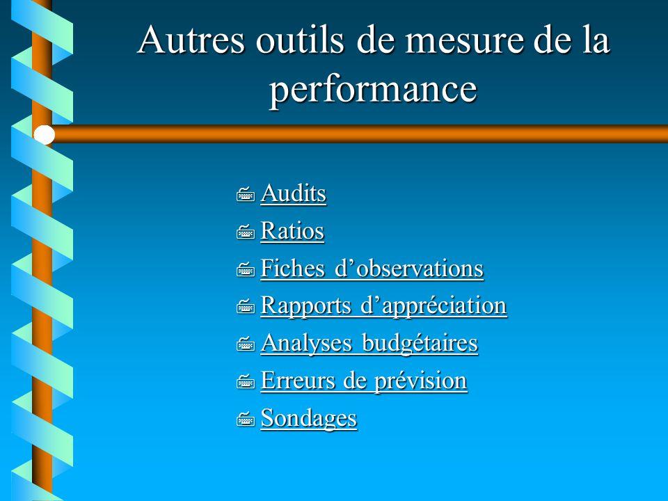 Autres outils de mesure de la performance