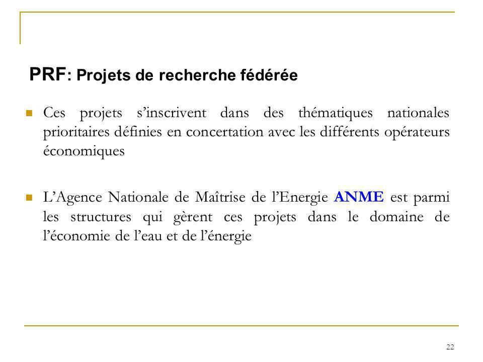 PRF: Projets de recherche fédérée