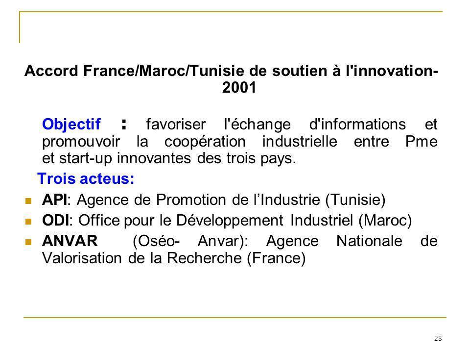 Accord France/Maroc/Tunisie de soutien à l innovation-2001 Objectif : favoriser l échange d informations et promouvoir la coopération industrielle entre Pme et start-up innovantes des trois pays.
