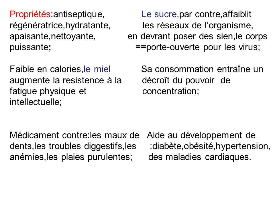 Propriétés:antiseptique, Le sucre,par contre,affaiblit