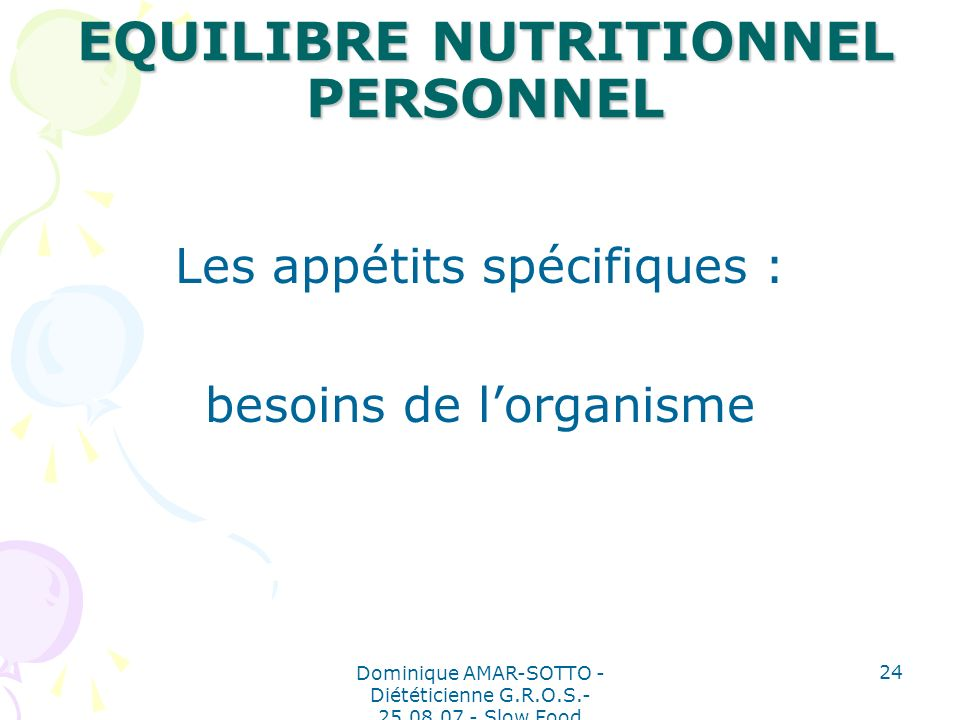 EQUILIBRE NUTRITIONNEL PERSONNEL