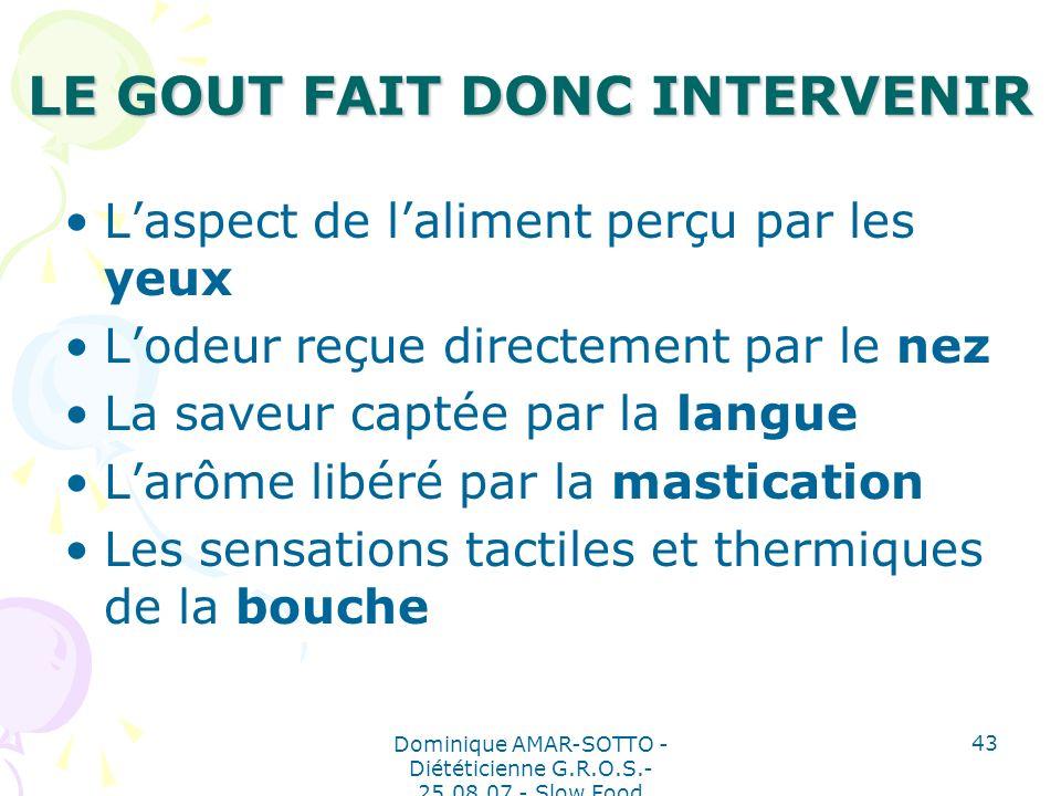 LE GOUT FAIT DONC INTERVENIR