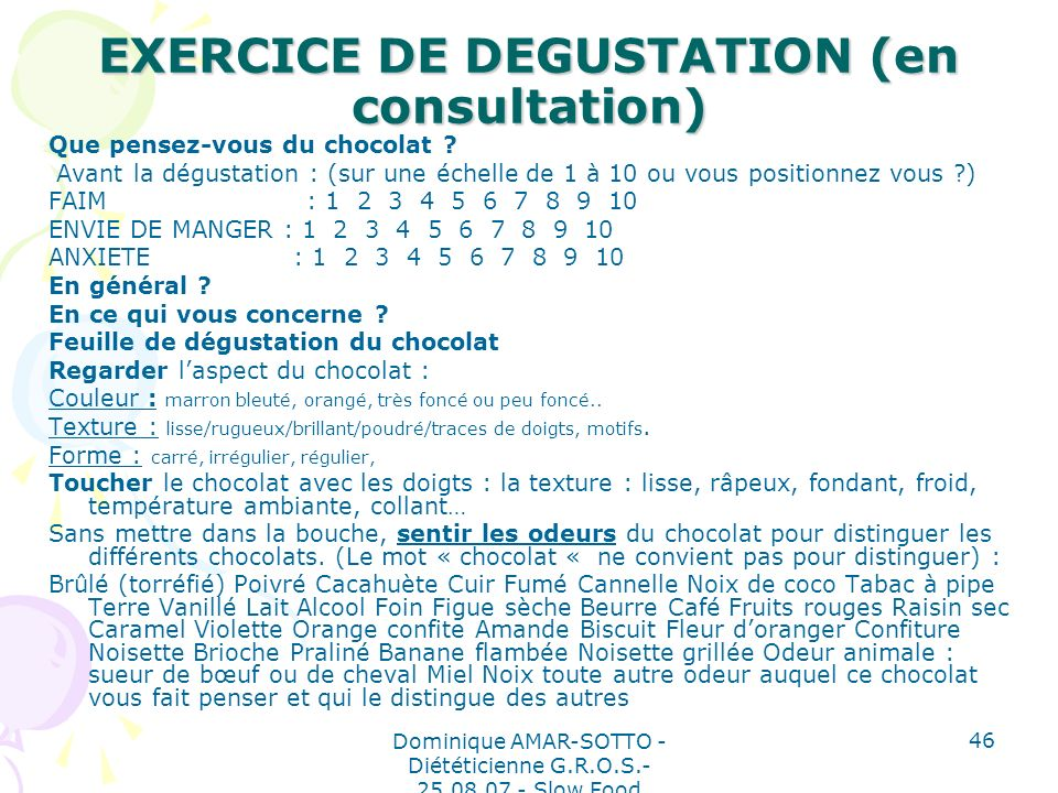 EXERCICE DE DEGUSTATION (en consultation)