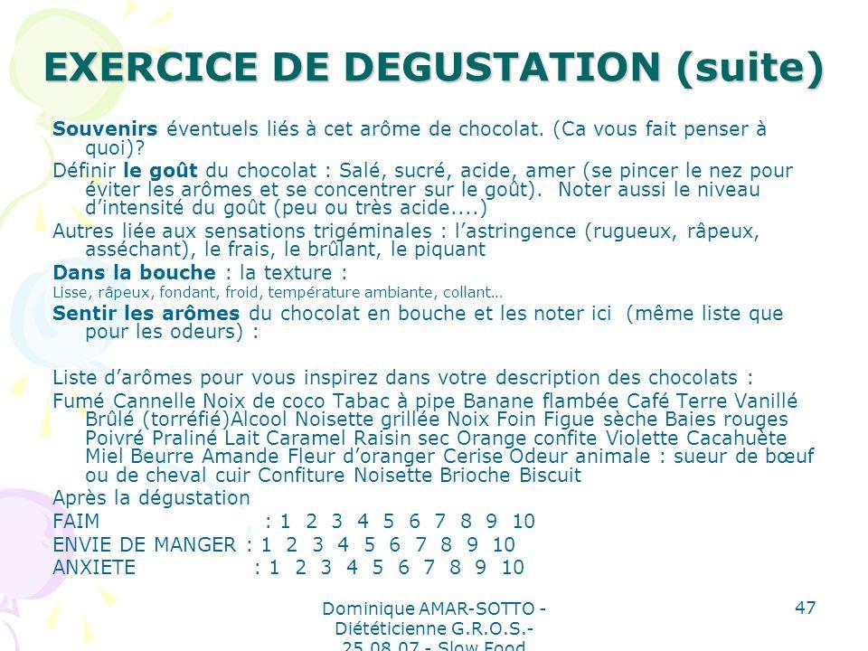 EXERCICE DE DEGUSTATION (suite)
