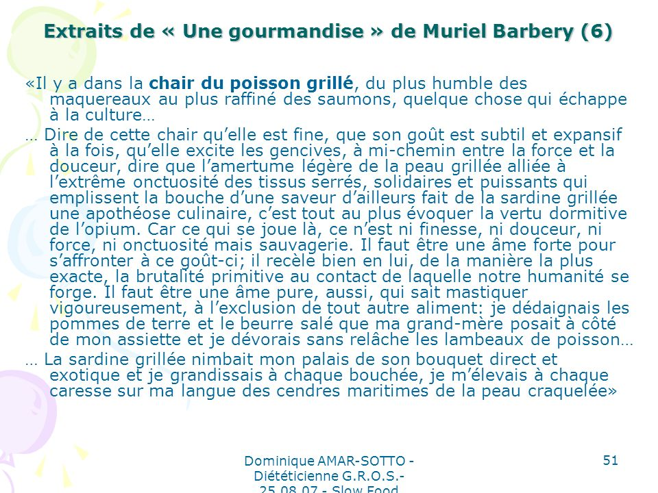 Extraits de « Une gourmandise » de Muriel Barbery (6)