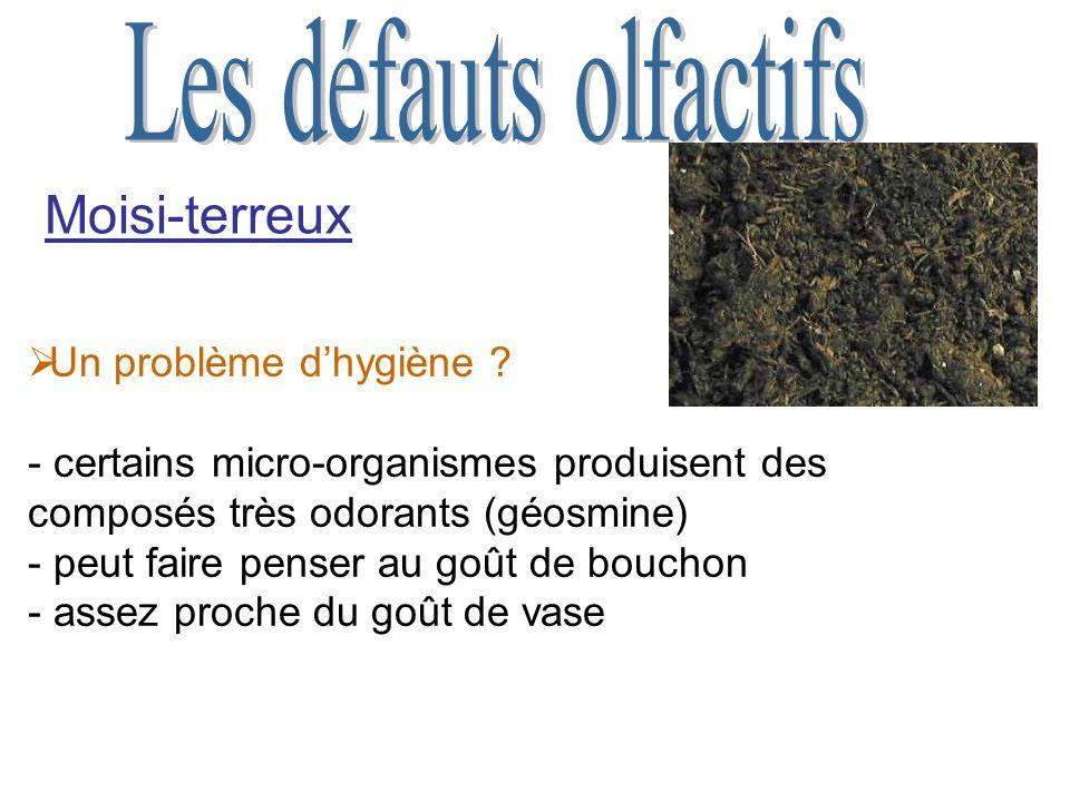 Moisi-terreux Les défauts olfactifs Un problème d'hygiène