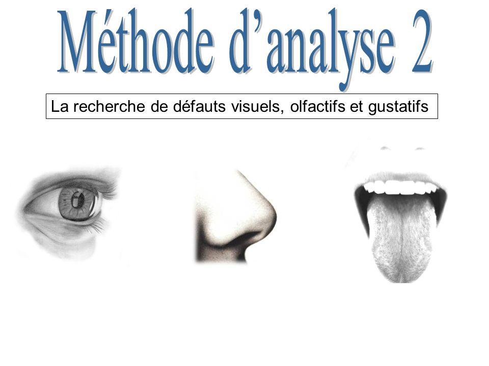Méthode d'analyse 2 La recherche de défauts visuels, olfactifs et gustatifs