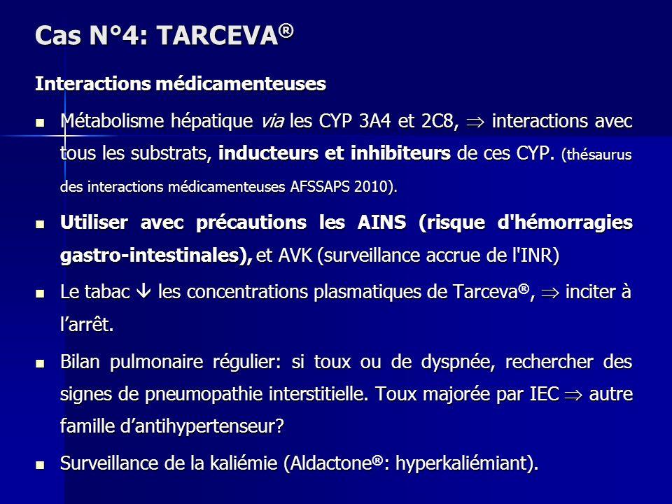 Cas N°4: TARCEVA® Interactions médicamenteuses