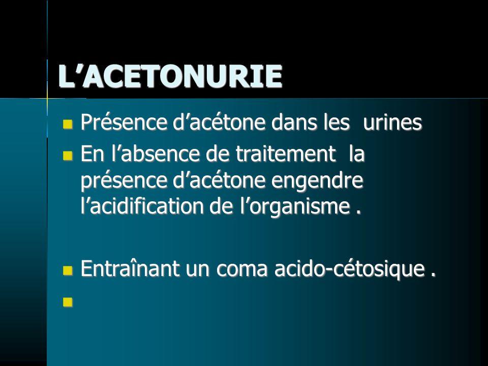 L'ACETONURIE Présence d'acétone dans les urines