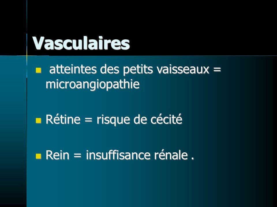 Vasculaires atteintes des petits vaisseaux = microangiopathie