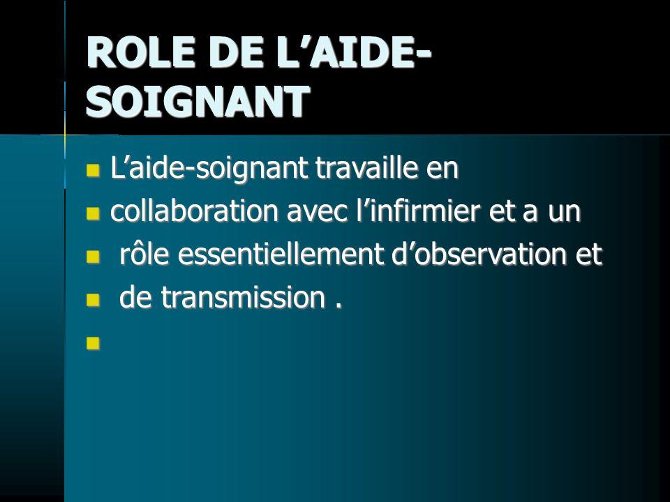 ROLE DE L'AIDE-SOIGNANT