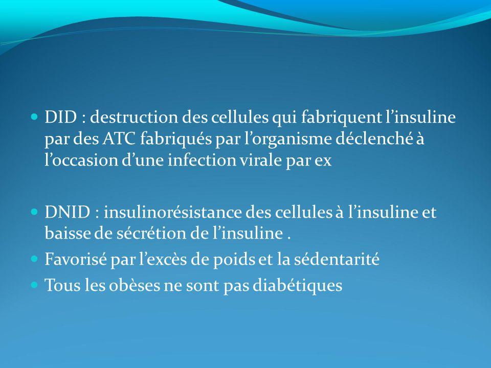 DID : destruction des cellules qui fabriquent l'insuline par des ATC fabriqués par l'organisme déclenché à l'occasion d'une infection virale par ex
