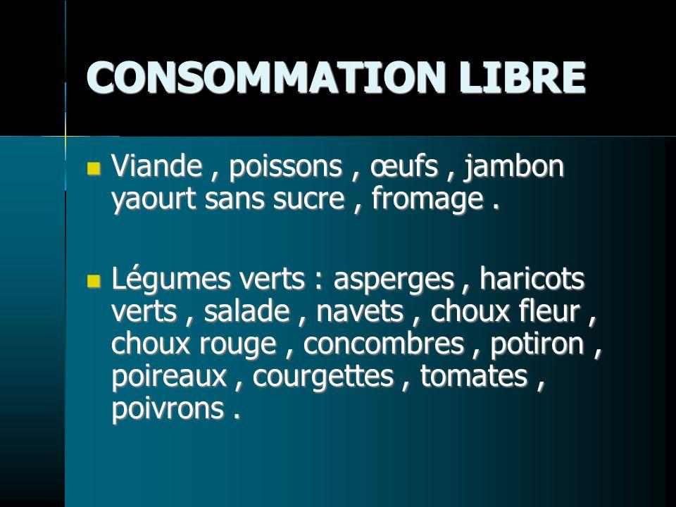 CONSOMMATION LIBRE Viande , poissons , œufs , jambon yaourt sans sucre , fromage .