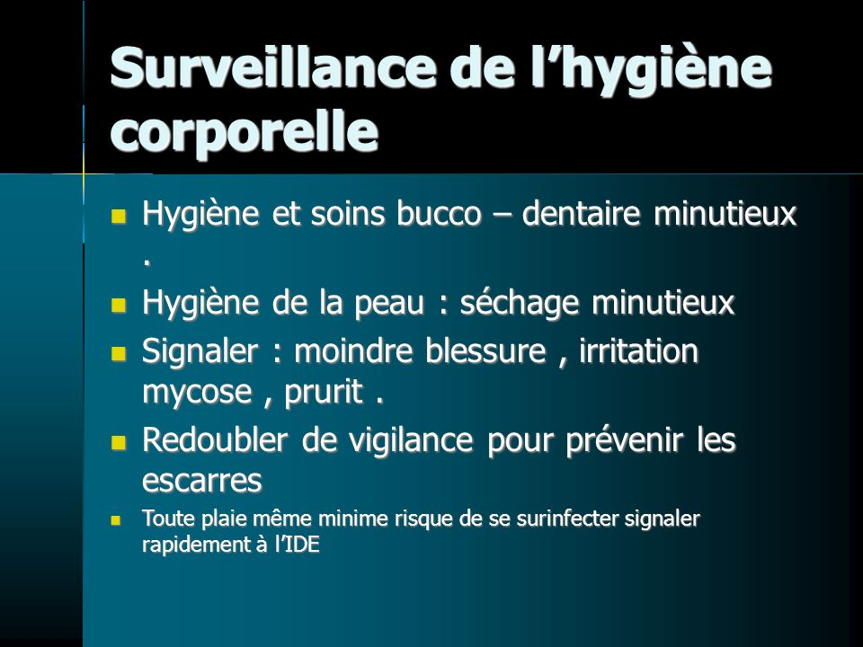 Surveillance de l'hygiène corporelle