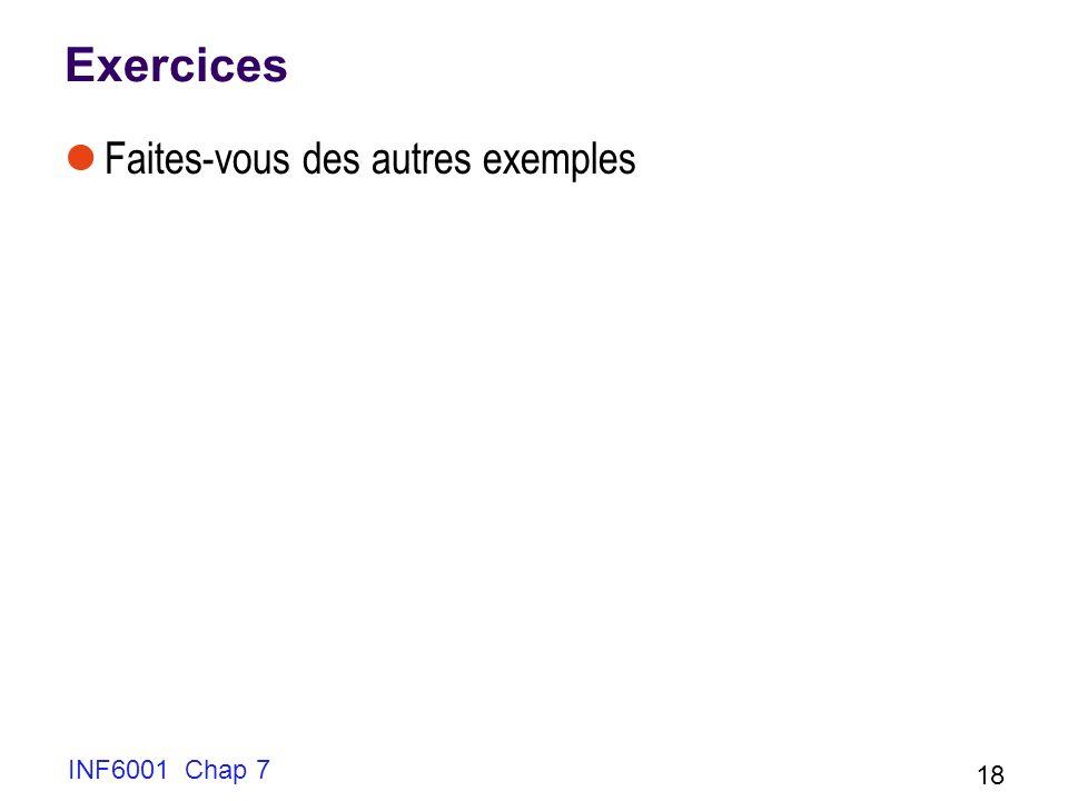 Exercices Faites-vous des autres exemples INF6001 Chap 7