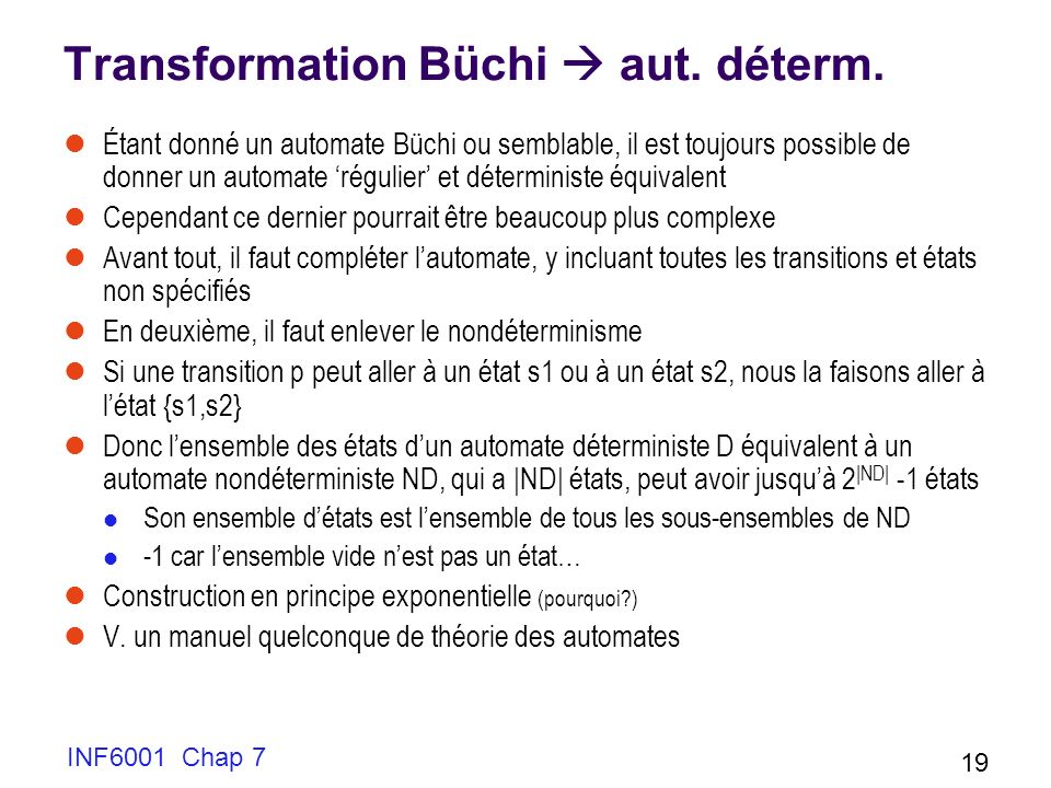 Transformation Büchi  aut. déterm.