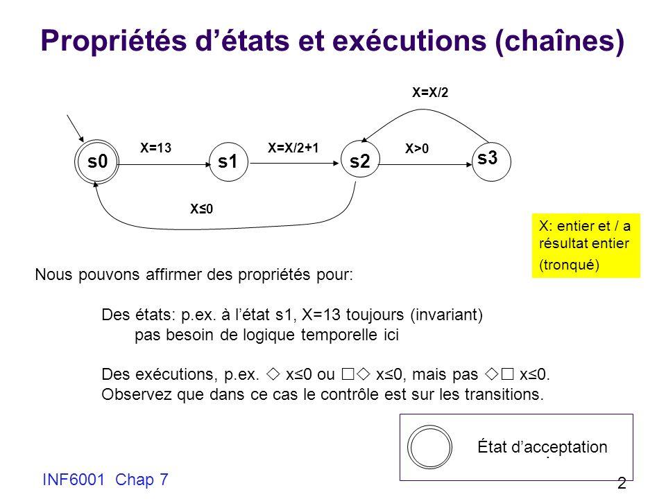 Propriétés d'états et exécutions (chaînes)