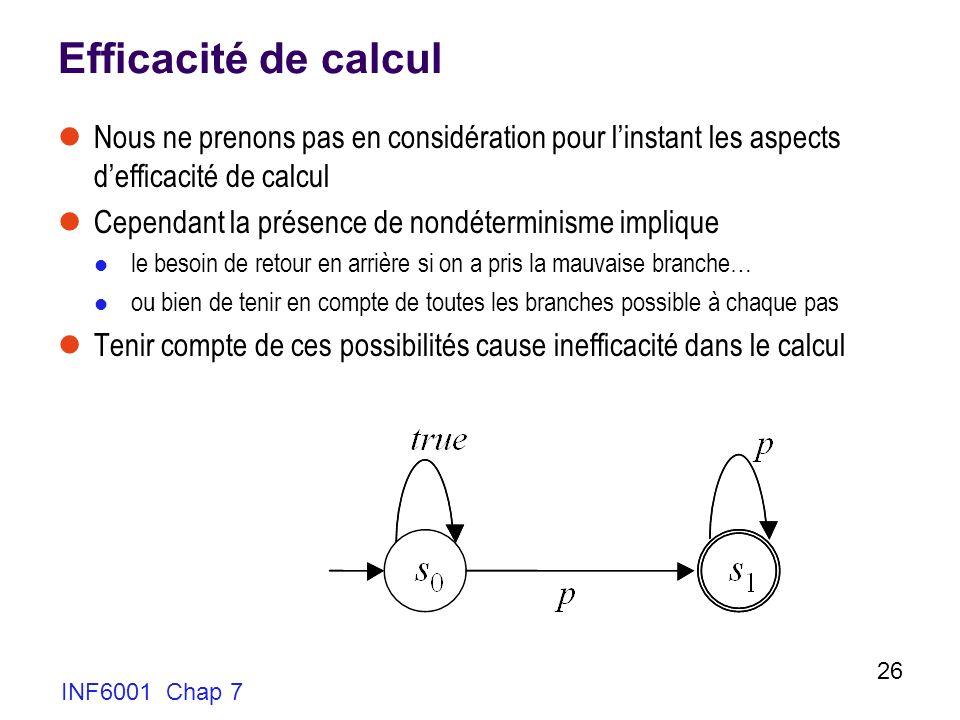 Efficacité de calcul Nous ne prenons pas en considération pour l'instant les aspects d'efficacité de calcul.