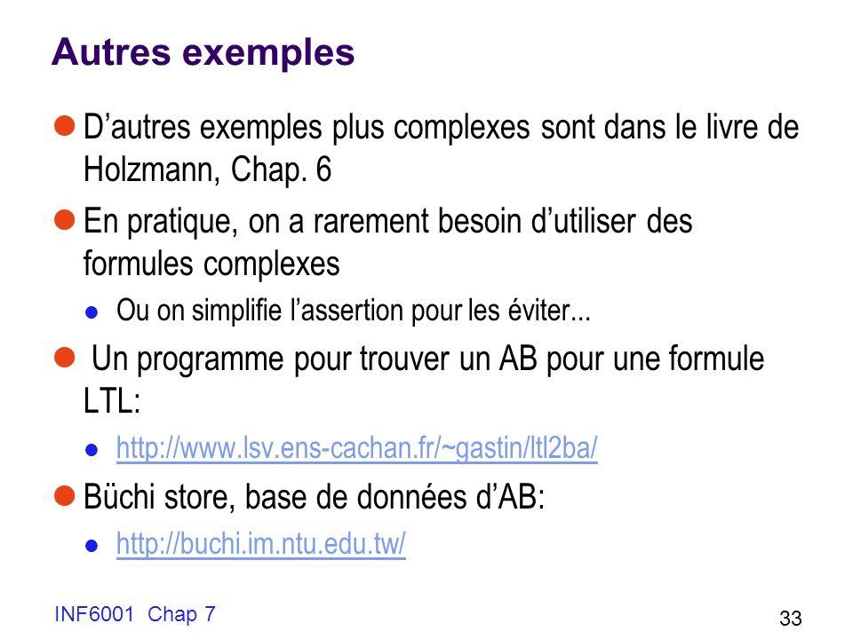 Autres exemples D'autres exemples plus complexes sont dans le livre de Holzmann, Chap. 6.