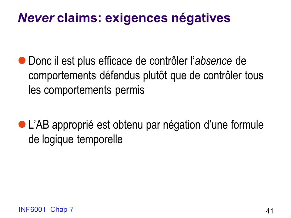 Never claims: exigences négatives