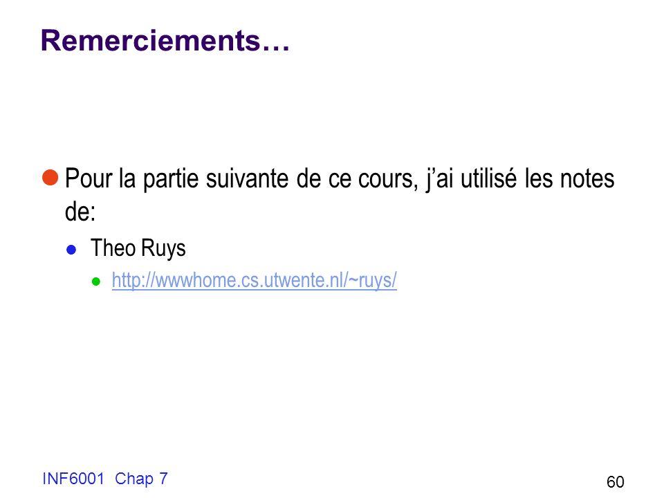 Remerciements… Pour la partie suivante de ce cours, j'ai utilisé les notes de: Theo Ruys. http://wwwhome.cs.utwente.nl/~ruys/